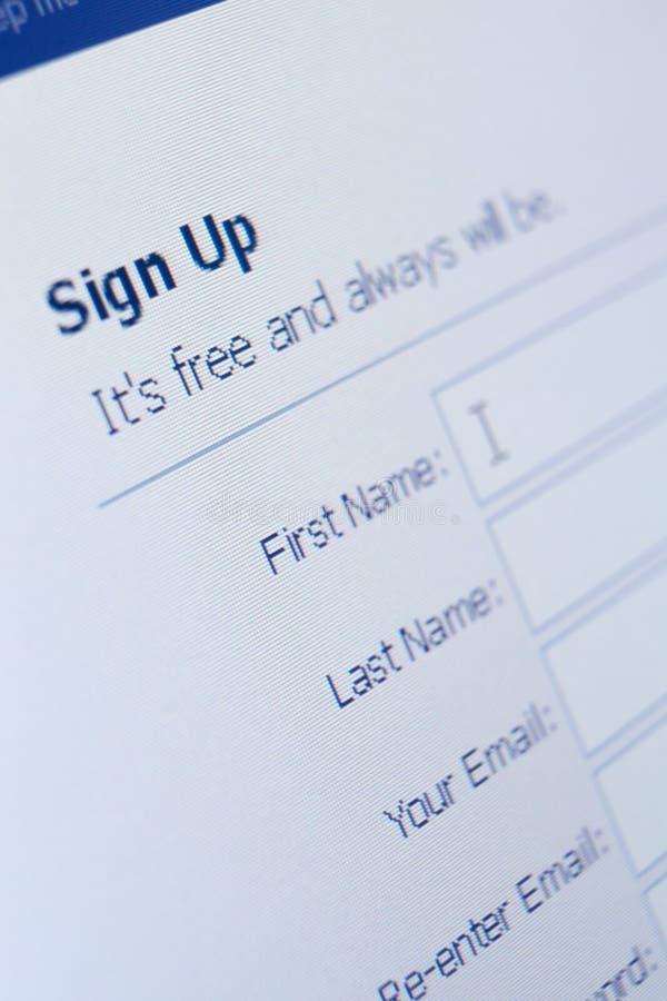 Feche acima da vista de assinam acima o formulário fotos de stock royalty free