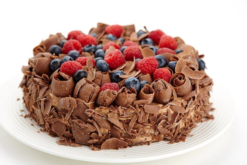 Feche acima da vista do bolo de chocolate imagem de stock royalty free