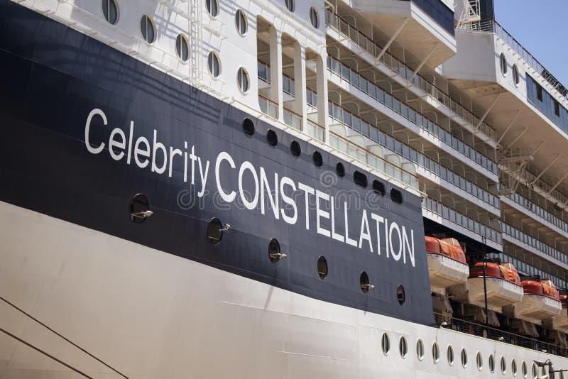 Feche acima da vista do navio de cruzamento grande, luxuoso fotos de stock