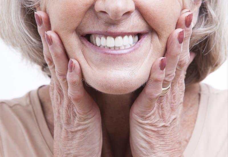 Feche acima da vista em dentaduras superiores imagem de stock