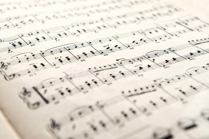 Feche acima da vista da folha com notas musicais imagens de stock royalty free