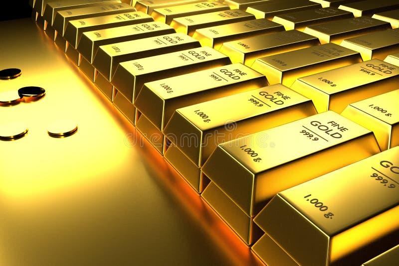 Feche acima das barras de ouro e das moedas empilhadas, 3d rendição, ilustração ilustração royalty free