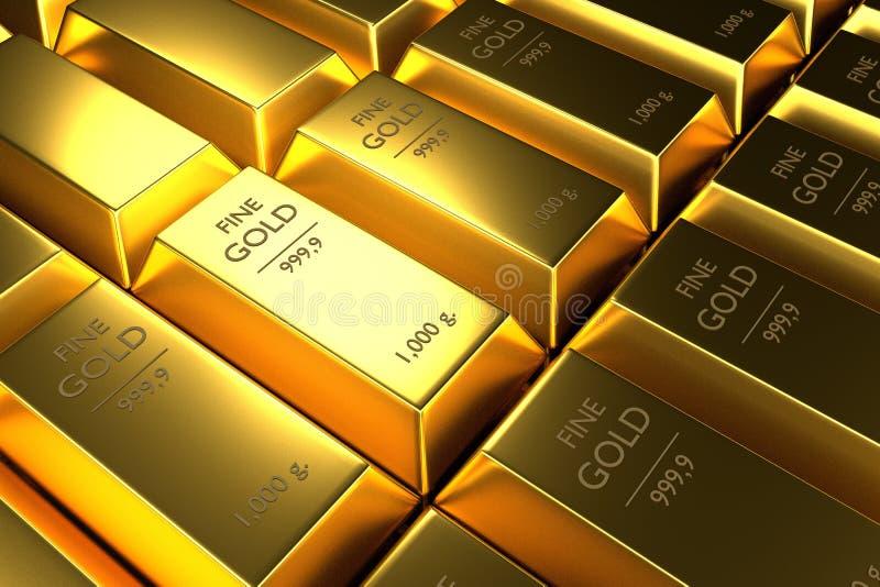 Feche acima das barras de ouro empilhadas, 3d rendição, ilustração ilustração stock