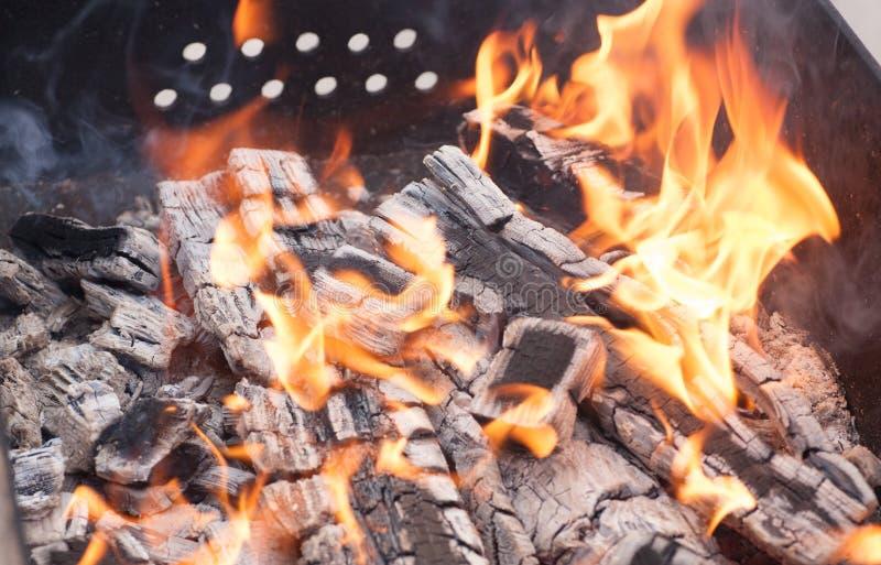 Feche acima das chamas e do fogo do acampamento imagem de stock royalty free