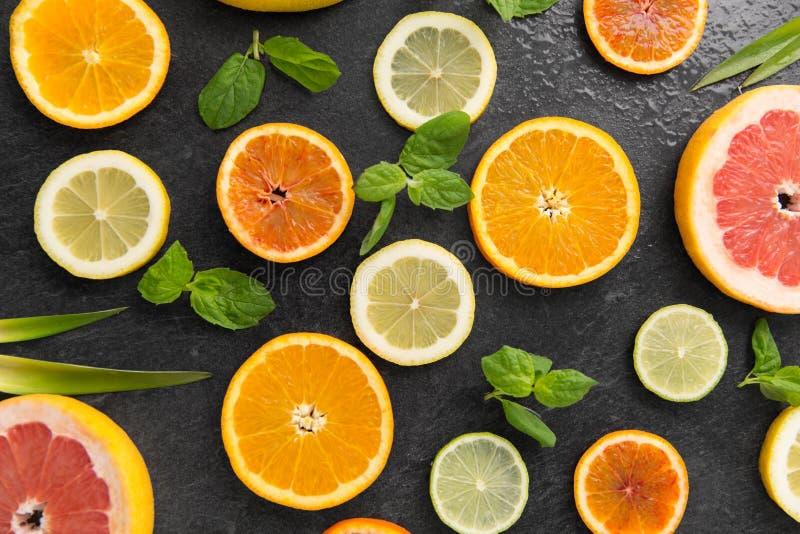 Feche acima das fatias diferentes dos citrinos foto de stock royalty free