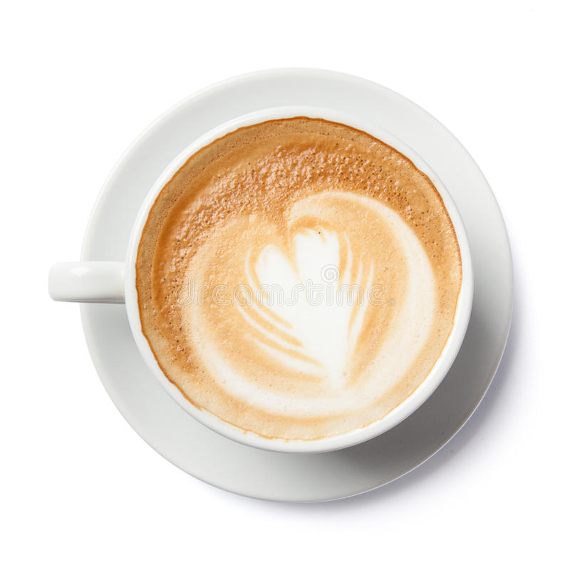 Feche acima das formas da arte do latte no fundo branco isolado foto de stock