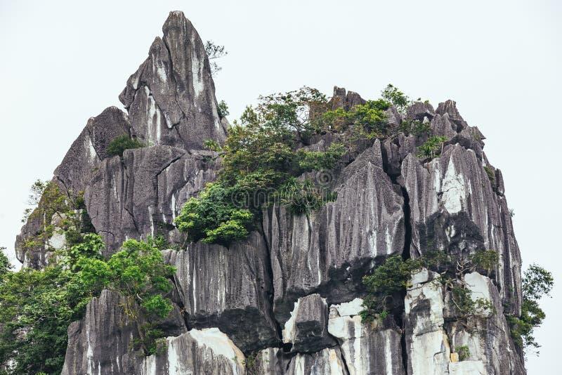 Feche acima das ilhas elevadas da pedra calcária com as árvores crescentes nele essa vista do barco de turista de cruzamento no v imagens de stock royalty free