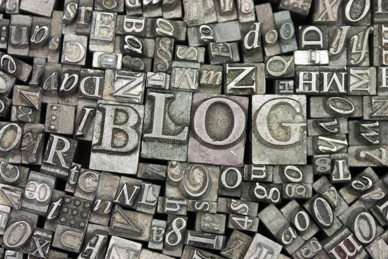 Feche acima das letras typeset com o blogue da palavra imagens de stock royalty free