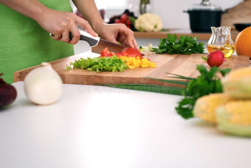 Feche acima das mãos do ` s da mulher que cozinham na cozinha Dona de casa que corta a salada fresca Vegetariano e saudavelmente  fotografia de stock