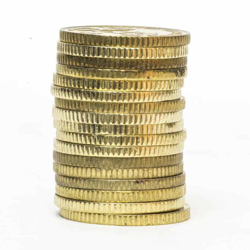 Feche acima das moedas empilhadas fotos de stock