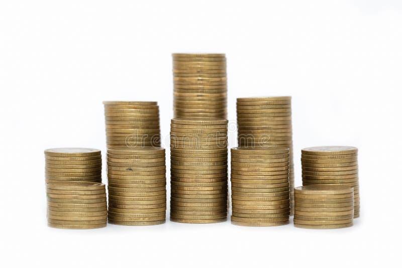 Feche acima das moedas ? pilha de moedas, conceito do crescimento do neg?cio, l? seja moedas do dinheiro ? pilha de moedas Fundo  foto de stock