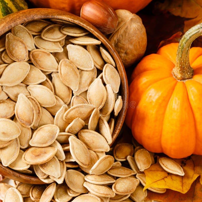 Feche acima das sementes de abóbora brindadas, salgadas imagens de stock royalty free