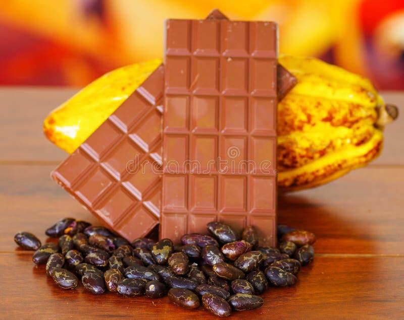 Feche acima das vagens frescas de um cacau, da barra de chocolate e dos feijões de cacau secos sobre uma tabela de madeira imagem de stock