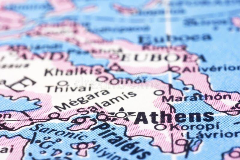 Feche acima de Atenas no mapa, Greece imagem de stock