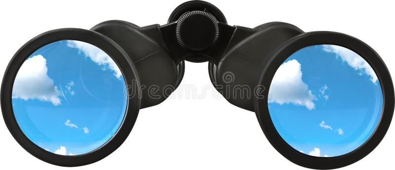 Feche acima de binocular preto com o céu nos vidros imagem de stock royalty free