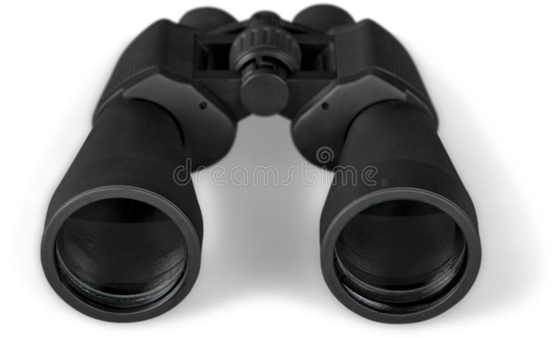 Feche acima de binocular preto isolado no branco foto de stock