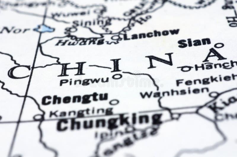 Feche acima de China no mapa imagens de stock royalty free