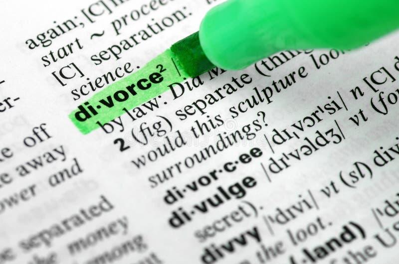 Feche acima de destacar o divórcio específico da palavra dentro foto de stock royalty free