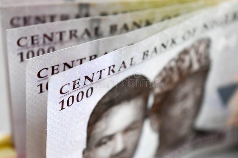 Feche acima de mil moedas do Nigerian das notas do naira imagens de stock royalty free