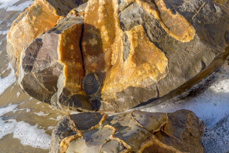 Feche acima de mostrar o detalhe em um Moeraki Boulder fotos de stock royalty free