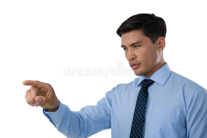 Feche acima de relação invisível tocante do homem de negócios seguro imagens de stock royalty free