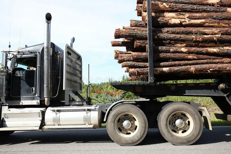 Feche acima de um caminhão de registro que leva uma carga máxima dos logs imagens de stock royalty free