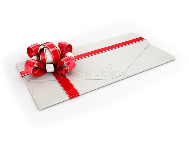 Feche acima de um envelope branco com uma fita vermelha foto de stock royalty free