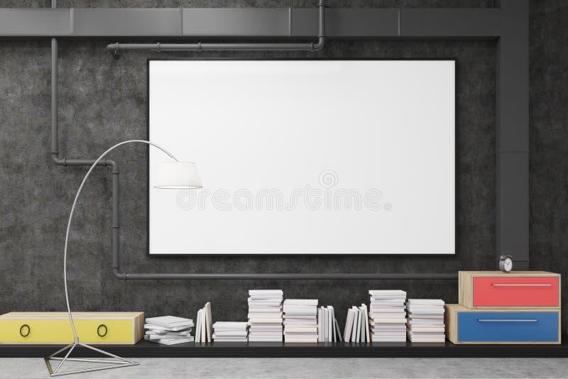 Feche acima de um grande cartaz horizontal que pendura em uma parede preta de uma sala de estar com gavetas coloridas ilustração do vetor