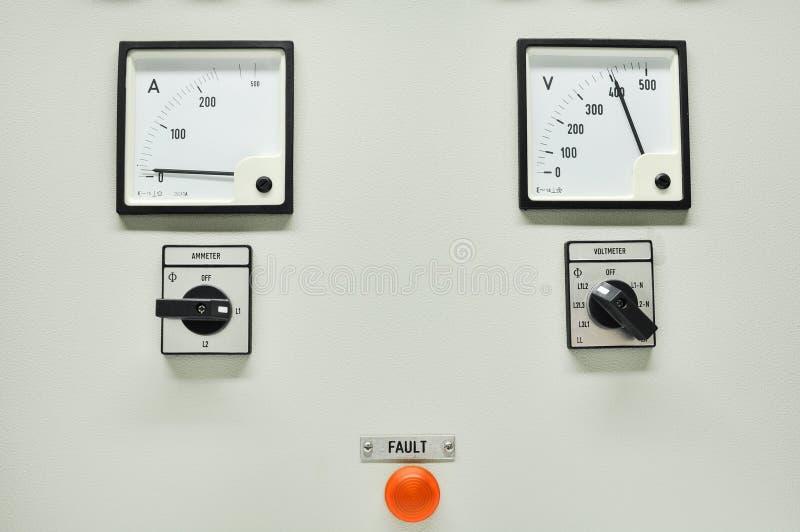 Feche acima de um medidor bonde, de uns medidores da companhia de eletricidade para um complexo de apartamentos ou de uma planta  imagem de stock royalty free