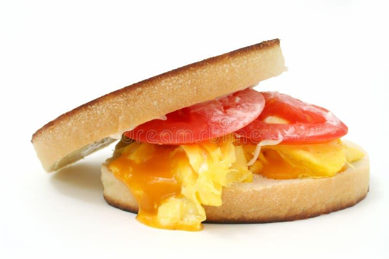 Feche acima de um sanduíche Scrambled do ovo e do queijo fotografia de stock