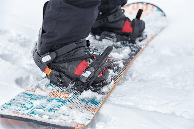 Feche acima de um snowboard imagens de stock