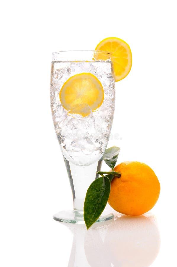 Feche acima de um vidro da água e do gelo com limão imagem de stock royalty free