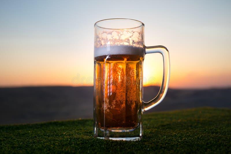 Feche acima de um vidro da cerveja de esboço com o Bokeh do fundo da luz solar, cerveja na grama fotos de stock