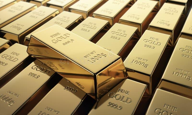 Feche acima de uma disposição de barras de ouro finas ilustração do vetor