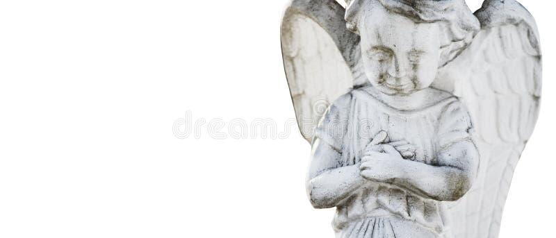 Feche acima de uma estátua antiga do estilo p do vintage do anjo da guarda imagens de stock