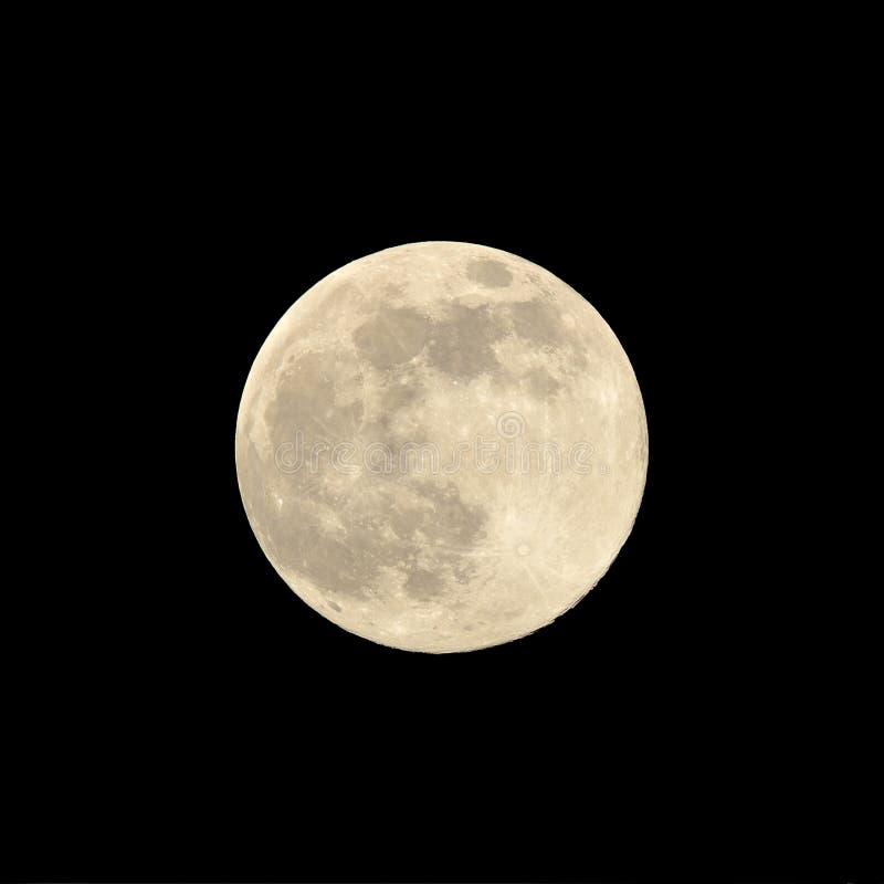 Feche acima de uma lua super em agosto de 2014 contra um fundo preto foto de stock