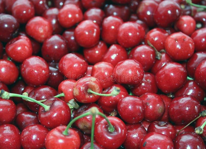 Feche acima de uma pilha de cerejas maduras com hastes e folhas Uma grande cole??o de cerejas vermelhas frescas Fundo maduro da c fotografia de stock