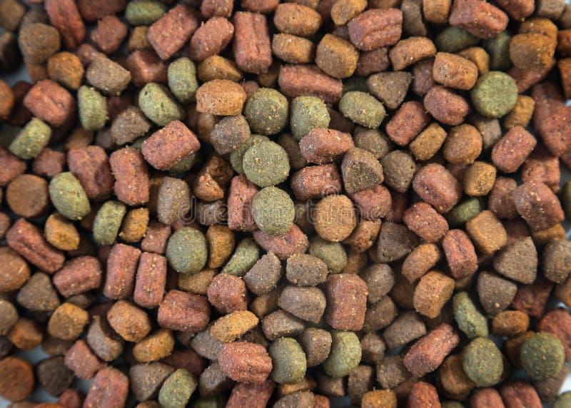 Feche acima do alimento animal seco doméstico para gatos ou cães Pilha de petiscos crocantes para animais de estimação fotografia de stock royalty free