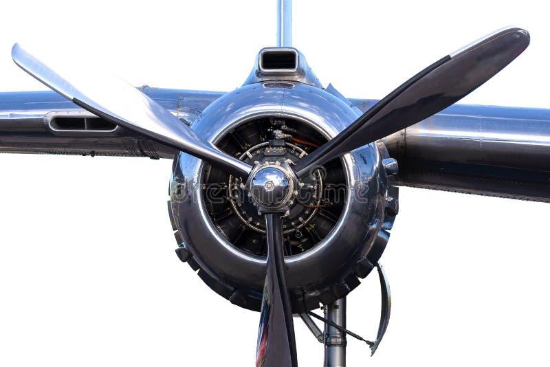 Feche acima do angine radial do pistão dos aviões de bombardeiro B-25 com asa foto de stock