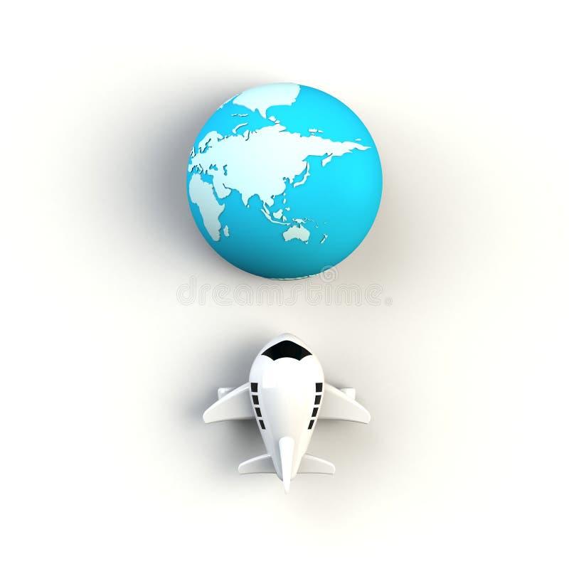 Feche acima do avião com ilustração do conceito do globo no fundo branco, vista superior com espaço da cópia ilustração do vetor