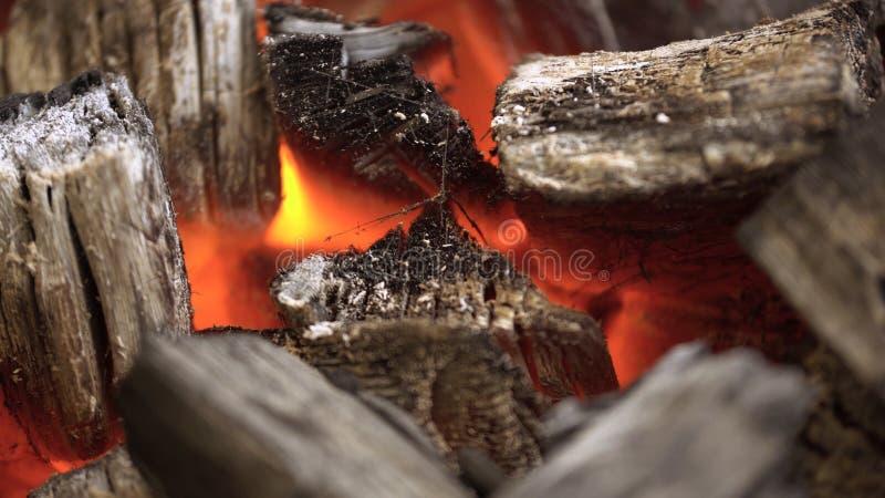 Feche acima do BBQ do carvão vegetal que chameja e que incandesce Carvão vegetal ardente para o close-up da grade fotos de stock royalty free