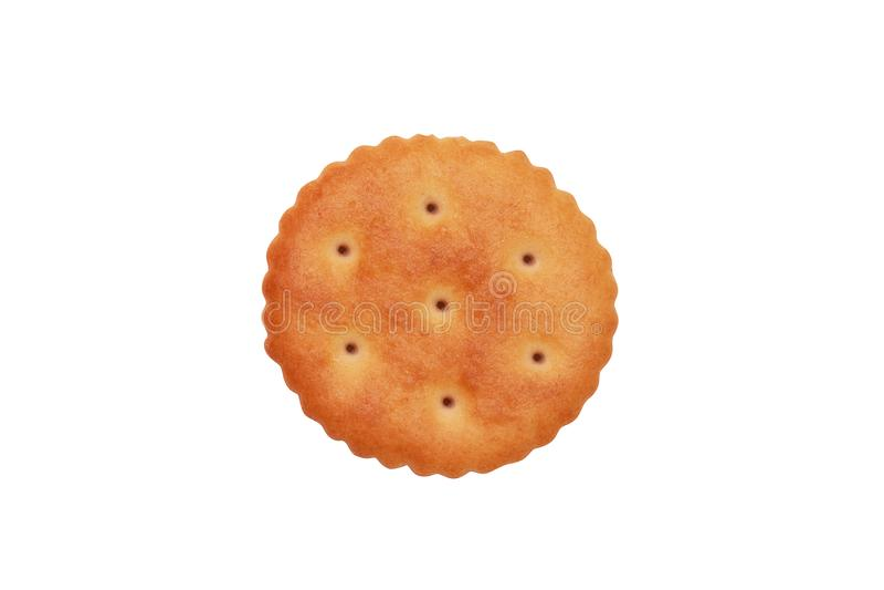 Feche acima do biscoito redondo no fundo branco imagens de stock royalty free
