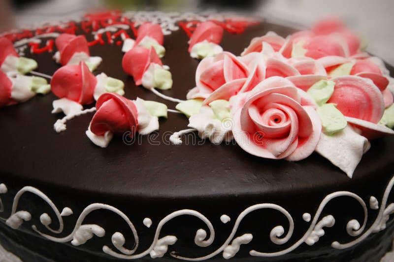 Feche acima do bolo com decoração imagem de stock