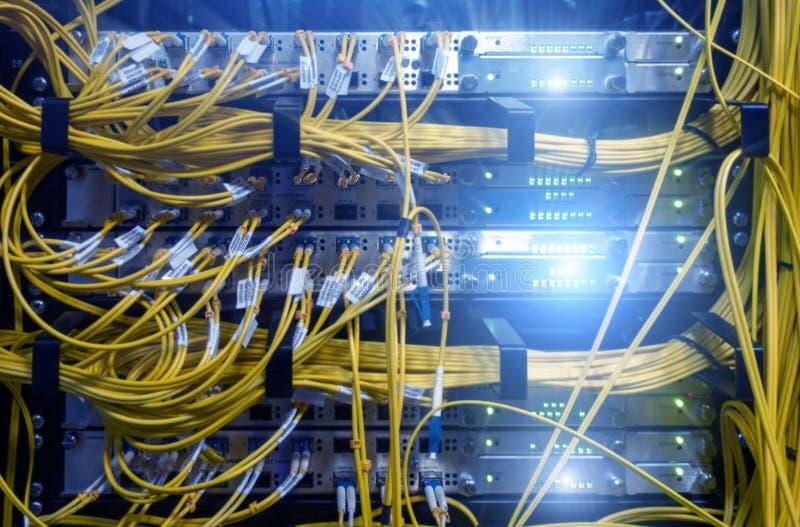 Feche acima do cabo de fibra ?tica Cremalheiras dos servidores Separa o computador em uma cremalheira no grande centro de dados imagem de stock royalty free