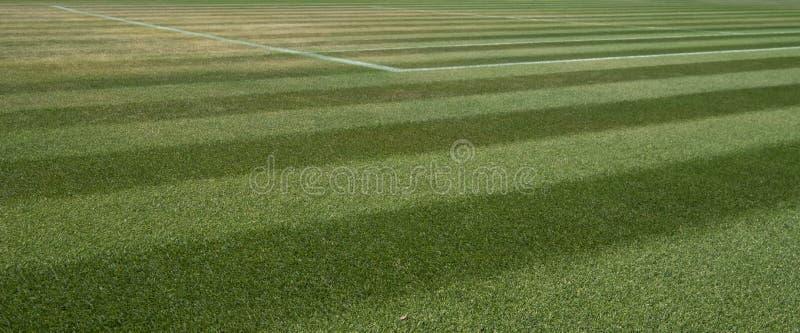 Feche acima do campo de tênis bem manicured da grama em Wimbledon, fotografado durante os 2018 campeonatos imagens de stock royalty free
