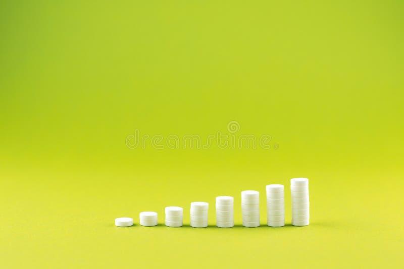 Feche acima do conceito da pirâmide dos comprimidos brancos no fundo do amarelo da pera com espaço da cópia Foco no primeiro plan imagem de stock royalty free
