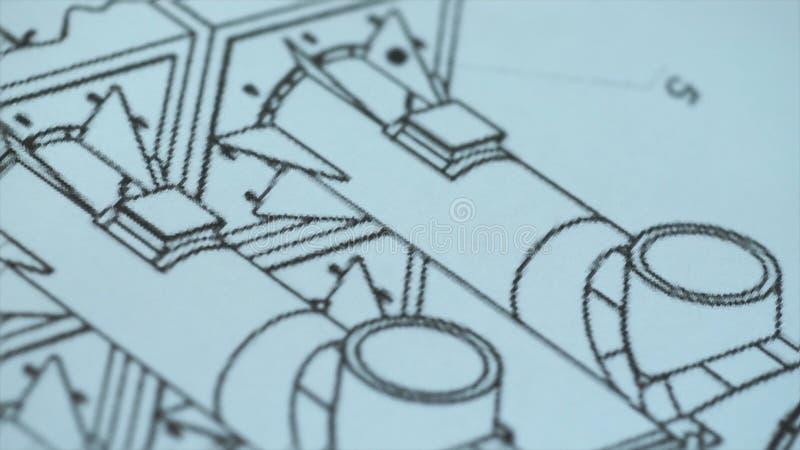 Feche acima do desenho, plano da construção estoque Câmera super macro do close-up no slider ao longo do vídeo, nós vemos imagens de stock royalty free