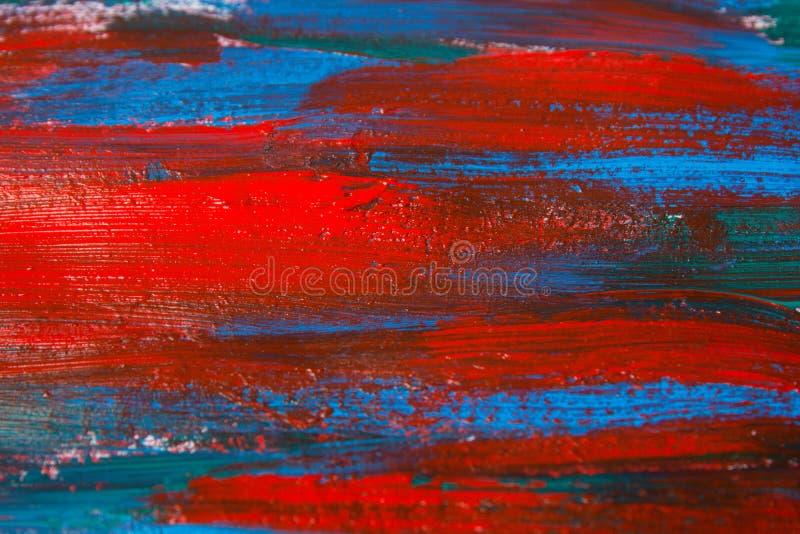 Feche acima do fundo da pintura com cursos azuis e vermelhos fotos de stock