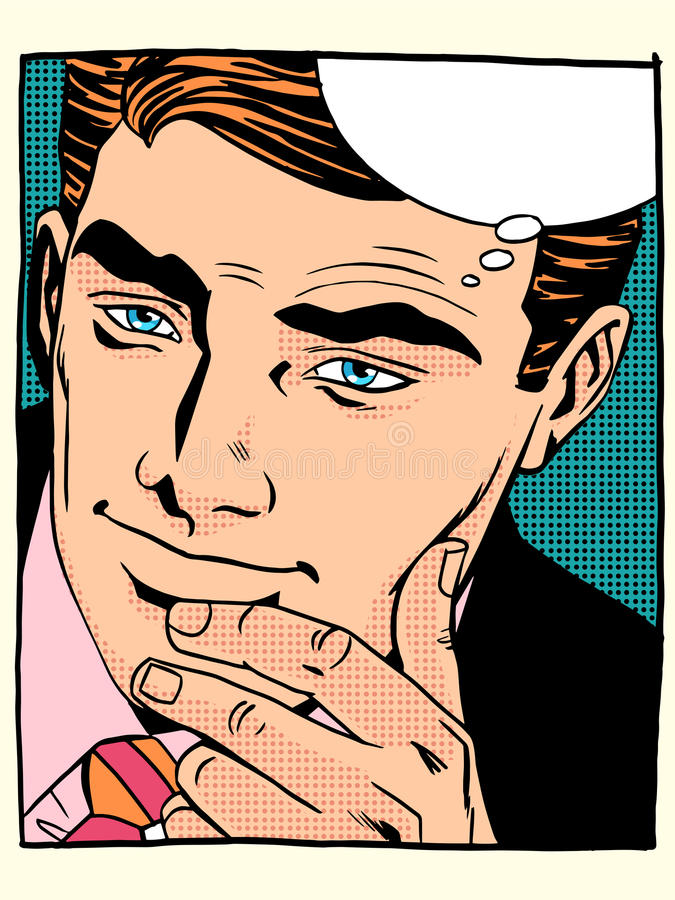 Feche acima do homem que olha a cara considerável ilustração do vetor