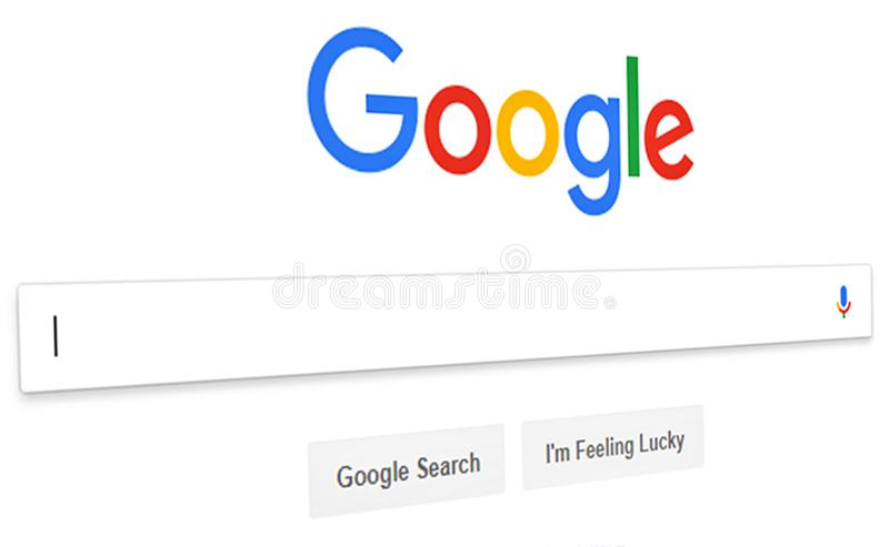 Feche acima do homepage da busca de Google e o cursor na tela Google ? mundos imagens de stock